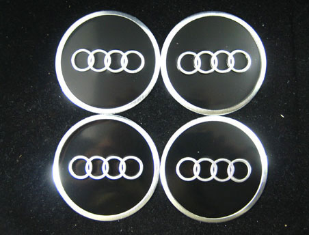 Audi Black Chrome Wheel Center Cap Stickers Chrome Sticker Wheel - Audi wheel center caps