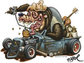 Hot Rod Bear Sticker Country Bear Decal Hot Rod Bear